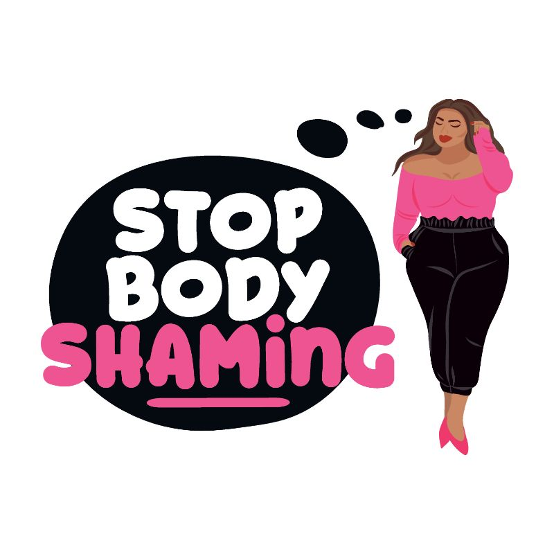 "vector art of woman thinking ""stop body shaming"""