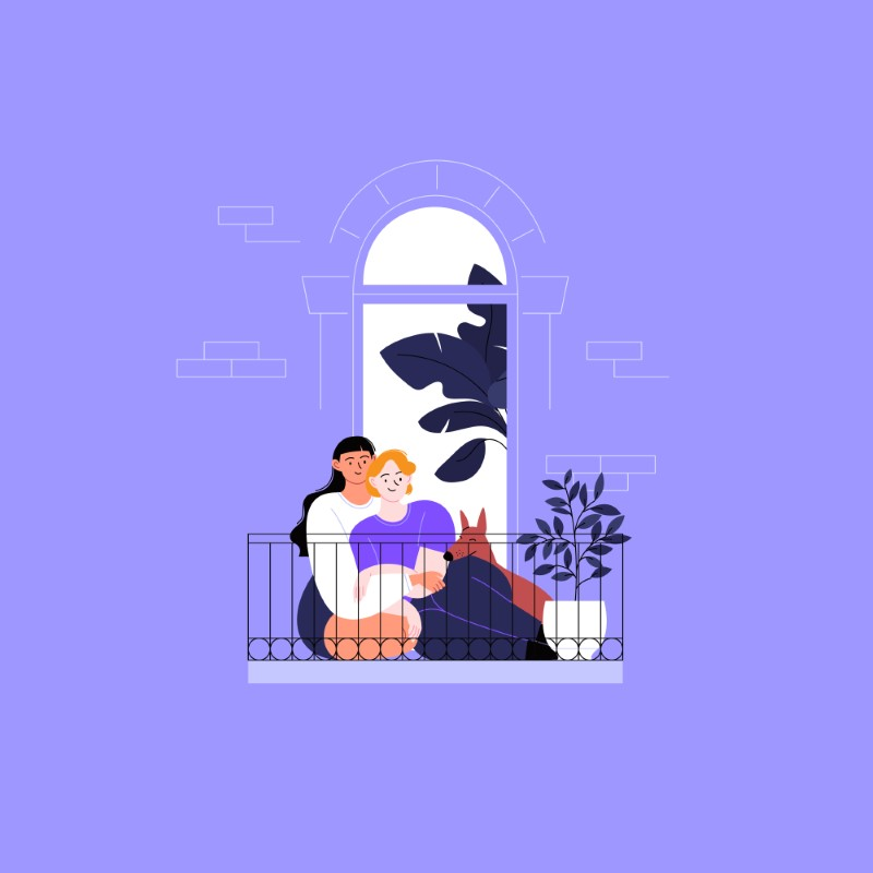 illustration of queer couple with a dog sitting on a balcony