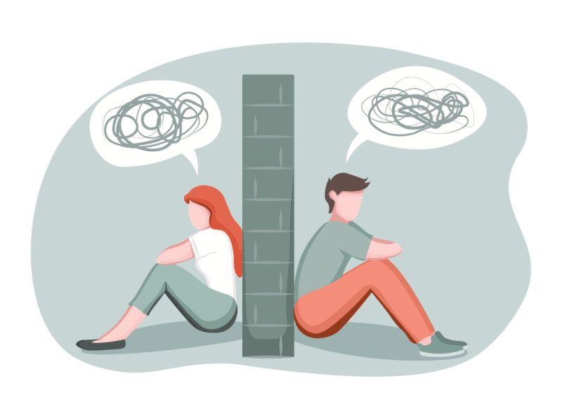 vector art of a man and a woman sitting on different sides of a wall, talking nonsense