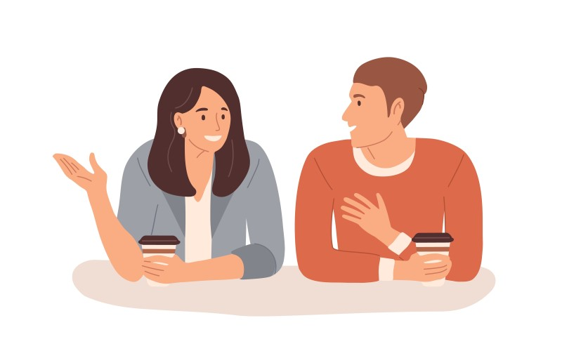vector art of two people chatting over coffee