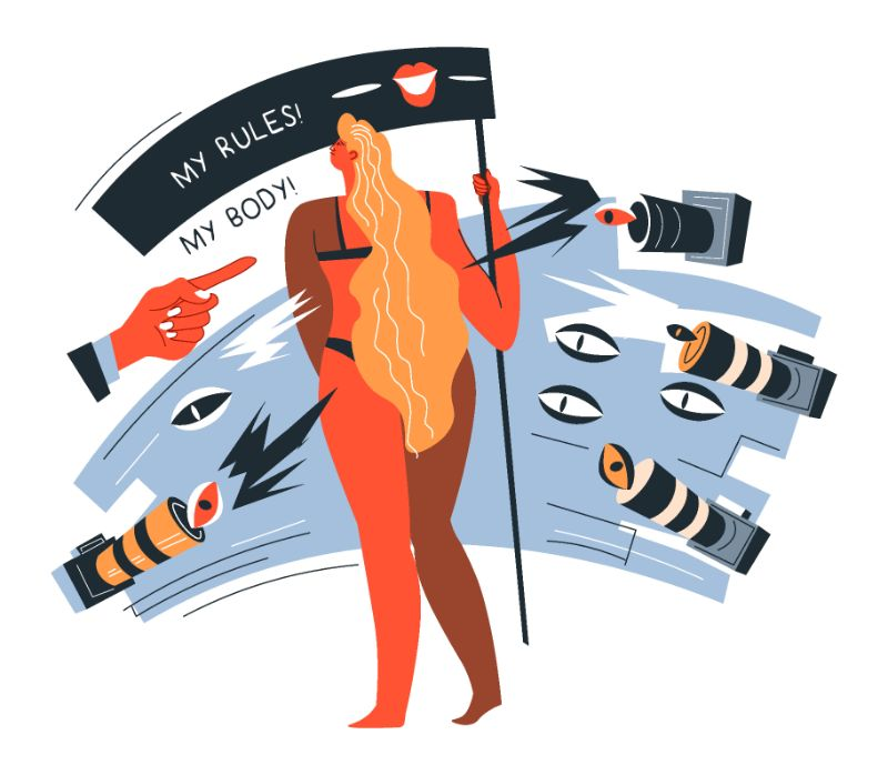 vector art of woman protesting for liberation of her body