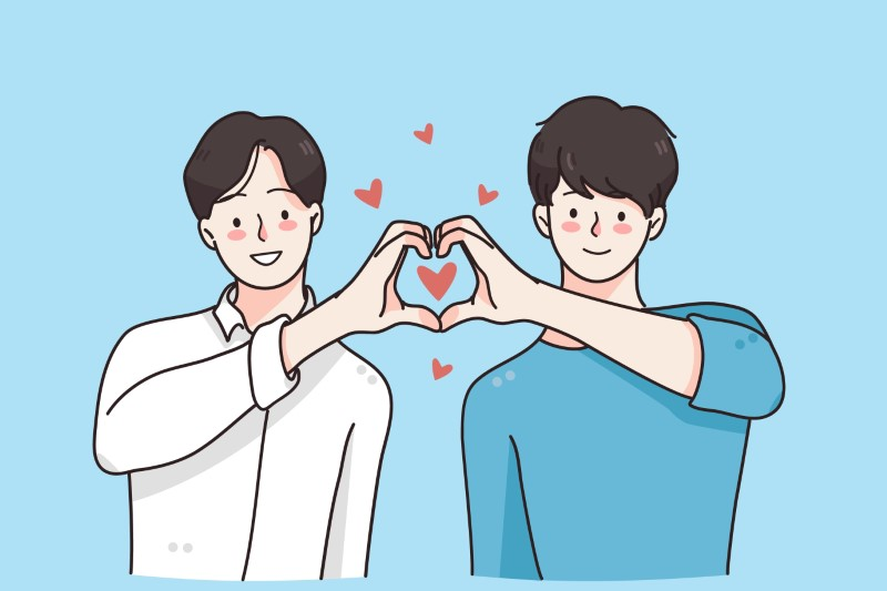 vector art of two men forming a heart with their hands