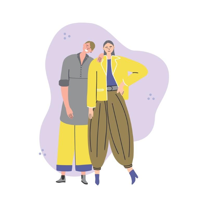 vector art of gender diverse couple