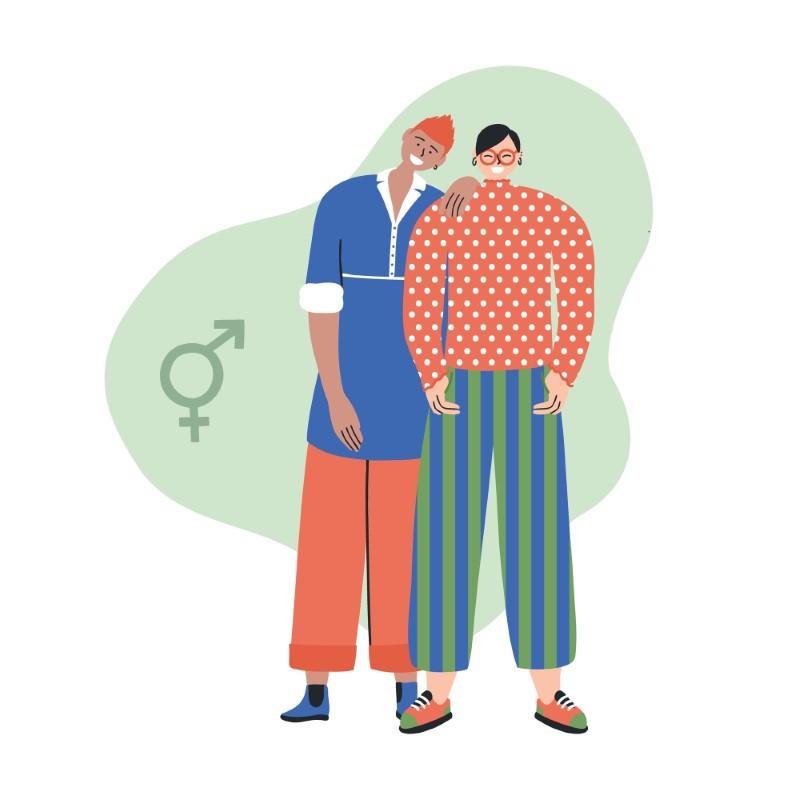 illustration of gender diverse couple