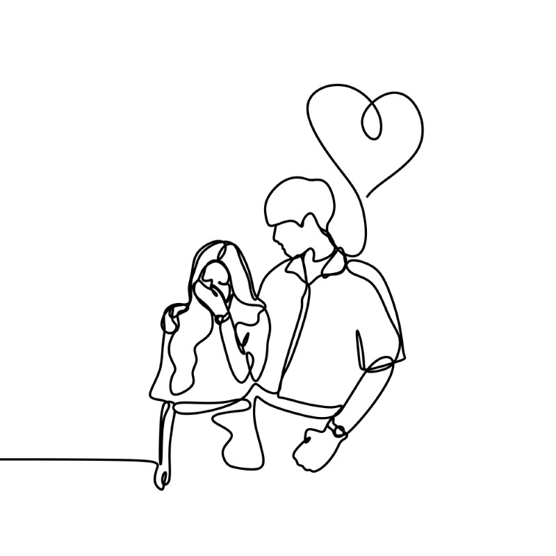 line art of boyfriend comforting girlfriend and a heart