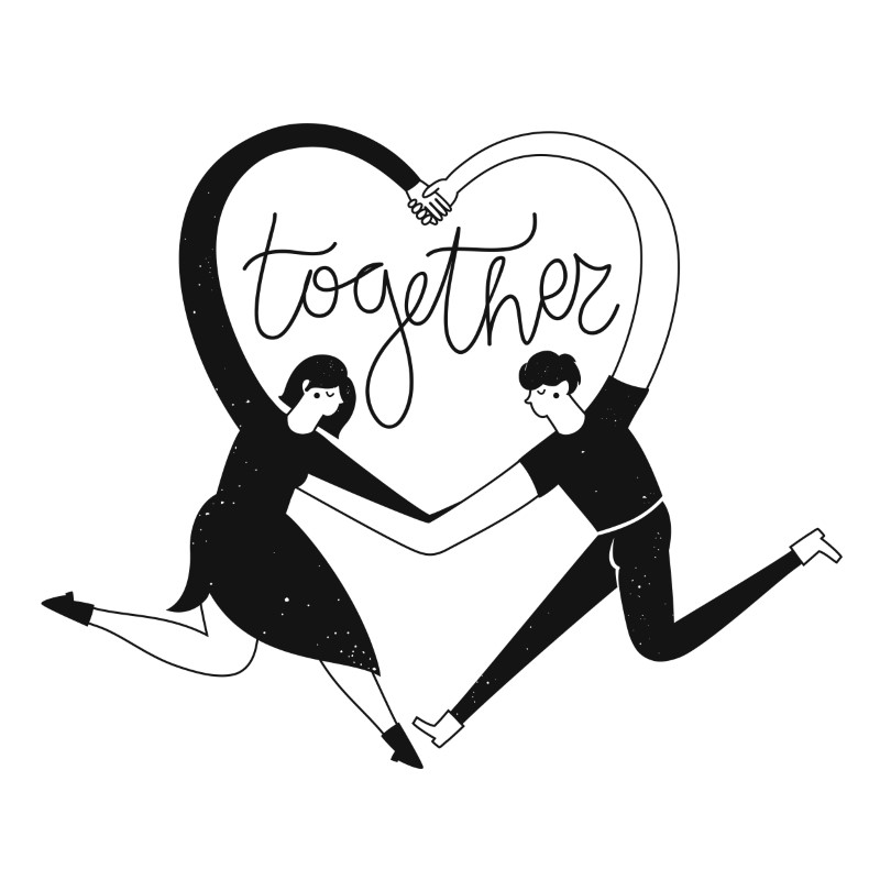 vector art of two people building a heart with their arms