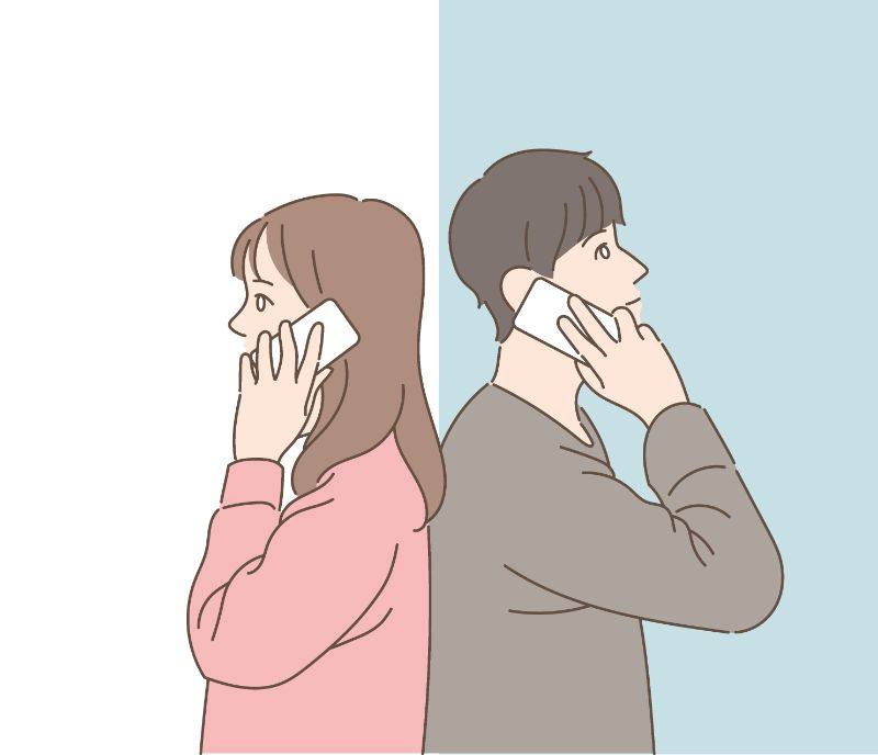 illustration of a couple talking to each other on the phone