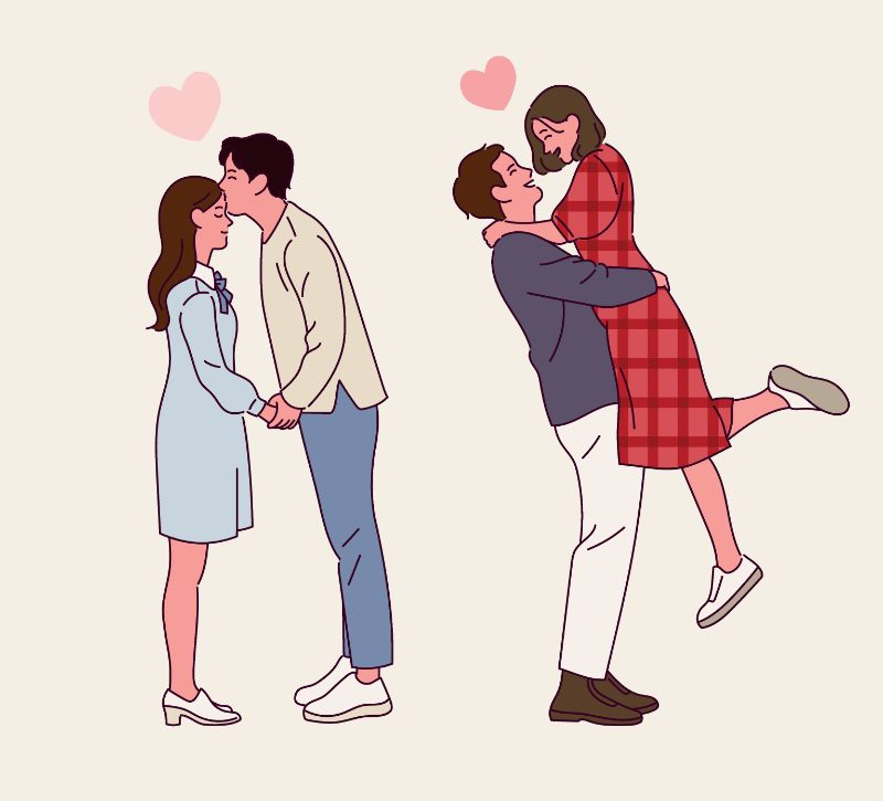 illustration of two couples in love