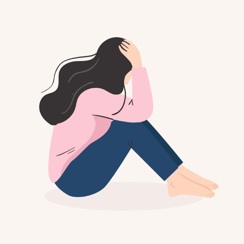 illustration of a sad women