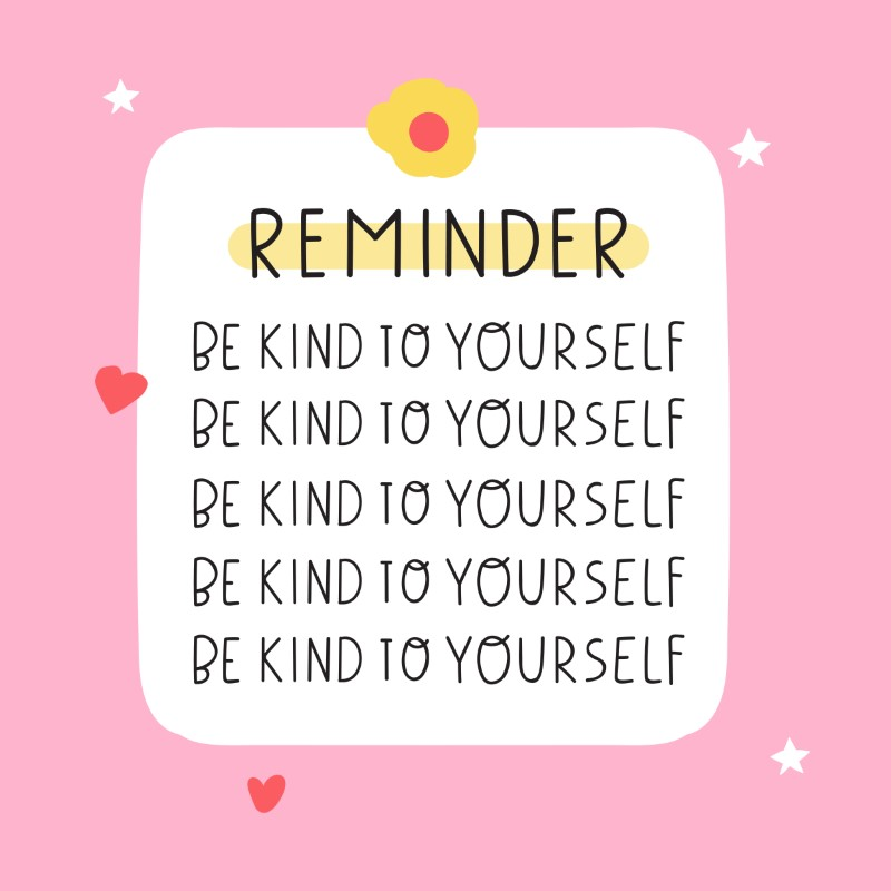 illustrated reminder to be kind to yourself