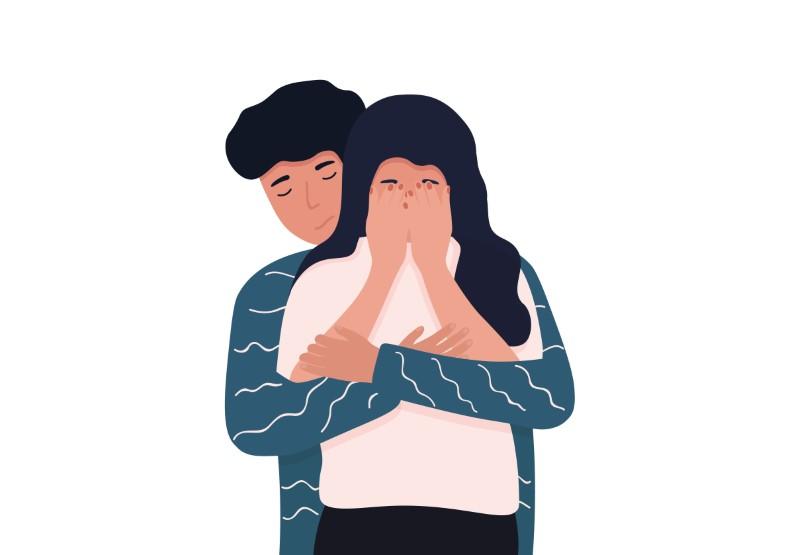 vector art of man comforting a woman