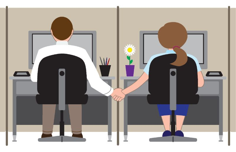 vector art of two co-workers holding hands